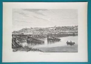 RUSSIA Nizhny Novgorod View from Volga River - 1880s Wood Engraving Print