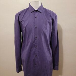 HUGO BOSS MEN SOLID PURPLE SLIM FIT LONG SLEEVE DRESS SHIRT SIZE 16.5-34/35