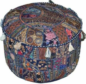 Indien Round Pouf Cover Vintage Ottoman Patchwork Footstool Embroidered Pouffe
