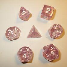 RPG Dice Set of 7 - Glitter Pink D4 D6 D8 D10 D12 D20 D00-90