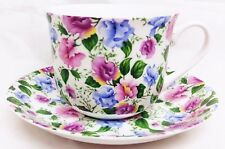 Sweet Pea Large Cup & Saucer Bone China Multi Flowers Breakfast Set Decorate UK