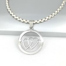 Silver Round Retro Twin Heart Love Pendant Womens Braided White Leather Necklace