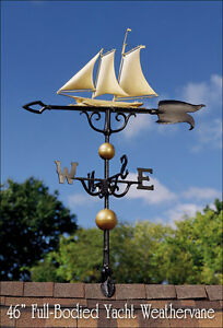 """Whitehall Yacht 46"""" Full-Bodied GOLD-BRONZE Weathervane Includes Roof Mount"""