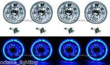 "5-3/4"" Blue LED Halo Halogen Light H4 Bulb Headlight Angel Eye Crystal Clear Set"
