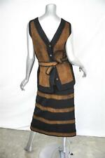 VINTAGE Womens Black+Brown Leather Crochet Calf Length Skirt Vest Suit Outfit L