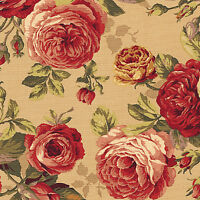 HEAVY CANVAS COTTON UPHOLSTERY CURTAIN TOTE FABRIC VINTAGE FLORAL ROSE BEIGE 44""