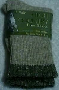 Lot Of 4 Pair Boys High Country Socks Size Med. Fits Shoe Size 9 - 2 1/2 *(New)