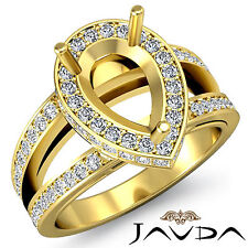 Diamond Engagement Pave Ring Pear Semi Mount Split Shank 14k Yellow Gold 0.7Ct