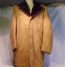 Vintage Piel ante Marrón Tostado Abrigo de Hombre Jc Penney Talla 42