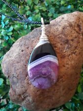 Wire Wrapped Silver Pink Teardrop Crystal Agate Gemstone Pendant Necklace