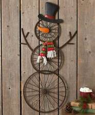 3 Foot Tall Hanging Bicycle Wheel Frosty The Snowman Christmas Wall Decoration