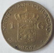 Curacao Netherlands Antilles 1 Gulden 1944 Silver Coin