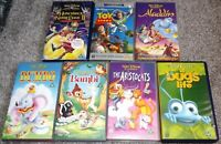 JOB LOT BUNDLE of 7 Walt Disney VHS VIDEOS - ALADDIN , DUMBO , BUGS LIFE , BAMBI