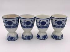 Set of 4 Large Allertons China Flow Blue Onion Pattern Egg Cups Ca 1920 England