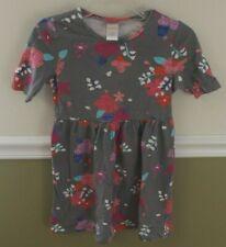 Gymboree 5 6 (tag Medium) Girls Dress gray floral EUC worn1X short sleeve fall