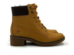 """Timberland Brinda 6"""" Inch Lace Up Boot Womens Yellow Wheat Casual Fashion Bootie"""