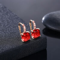 Earrings Gold Plated  Swarovski Crystal Leverback Ruby Created