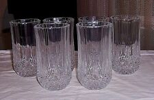 VTG CLEAR GLASS BOTTOM ETCHED DIAMOND CUT SET OF 6 GLASSES.UNKNOWN MAKER.