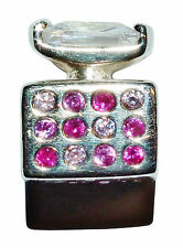 "Pre-Owned Genuine CHAMILIA Silver & Pink Gem Set ""Perfume Bottle"" Bead - #2"