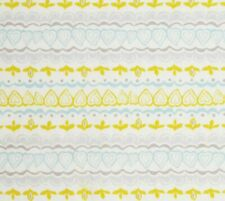 Heart Stripes Cotton Quilt Fabric Yellow Teal Gray Cream Hobby Lobby BTY