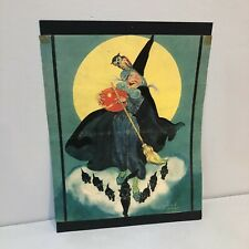 Vintage Art Print  30's Halloween Louise C. Rummely Witch JOL Black Cats Owl