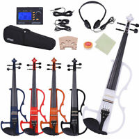 ammoon Electric Silent Violin Size 4/4 with Tuner Headphones Bridge Case US O5A9