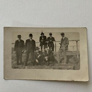 Antique RPPC Real Photograph Postcard Handsome Group Men Man Hat Gay Int