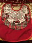 Vintage 90s AVON Baby Bib CHECKERED Red White Primary Colors *FREE GIFT