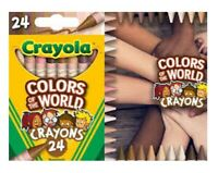 CRAYOLA CRAYONS COLORS OF THE WORLD  24 Count Box & Activity Coloring PAGES