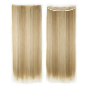 """Long 100% Natural Full Head One Piece Clip In Hair Extensions Blonde Mix 26"""" THF"""