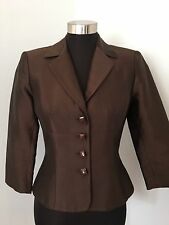 KAY UNGER 4 Jacket Jewel Bead Button Shimmer Chocolate Brown Silk Blend Occasion