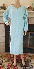 Vtg Aqua Blue Chenille Cotton Terry Cloth Housecoat Robe Lounge Size M L Pockets