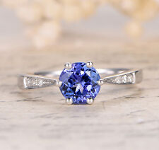 6 Prongs 7mm Round Cut Blue Tanzanite Wedding Bridal Ring 14K White Gold 6#