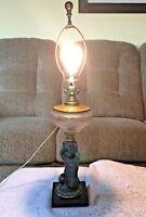 "Antique 24"" Art Deco Lamp Child Holding Embossed Glass Globe Over Head"