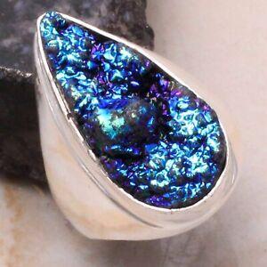 Titanium Druzy Ethnic Handmade Man's Ring Jewelry US Size-8.5 AR 32784