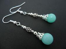 Un par de azul pálido Jade Plateado Colgantes Pendientes. Nuevo.