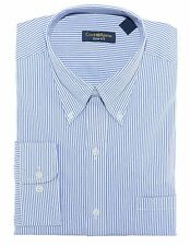 Club Room Blue White Striped Button Down Slim Fit Cotton Dress Shirt 16.5 32/33