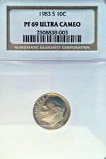 1983-S ROOSEVELT DIME GRADED PF 69 ULTRA CAMEO BY NGC