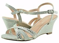 Women's Shoe Blossom Field 14 Strappy Open Toe Crystal Wedges Silver Sparkle New