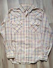 Vtg 70's Levi's Holy Grail Big E White Tab Western Button Up Shirt Plaid Size L