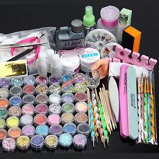 AU Stock Nail Art Kit Acrylic Powder Liquid Glitter UV GEL Glue Tips Brush Set