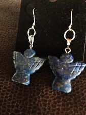 Lapis Lazuli Earrings, Angels, Sterling Silver - Last one!