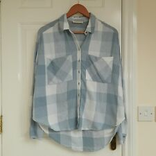 Ladies Plaid Checked Shirt Size 10 M&S blue And White boxy style