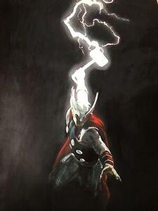Thor 20x14 Oil painting Avengers Asgard unframed Ragnarok Loki Valkyre