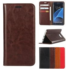 Luxury Genuine Leather Flip Book Style Wallet Stand Case Cover For Many Phones