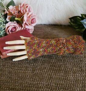 Crochet Arm Warmers, Fingerless Brown Gloves