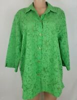 Sag Harbor Women's Size 1X Green Blouse Floral Sheer 3/4 Sleeve Button Front