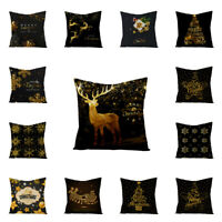 Black Gold Christmas Pillow Case Waist Throw Cushion Cover Festival Party Decor