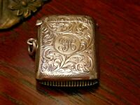 Antique Solid Silver Vesta Birm 1924 Match Case Holder Pendant by Joseph Gloster