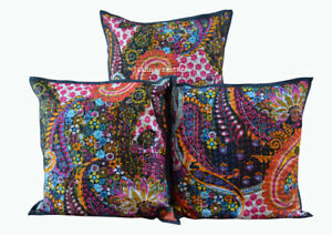 "Indian Cotton Set Of 3 Handmade 16 X 16"" Applique Cushion Cover Paisley Print"